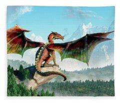 Perched Dragon Fleece Blanket