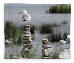 Perched On A Rock Cairn Fleece Blanket