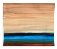 Perfect Calm - Abstract Earth Tone Landscape Blue Fleece Blanket