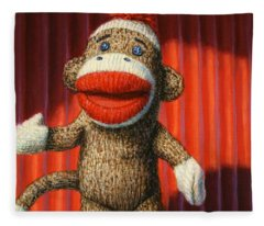 Performing Sock Monkey Fleece Blanket