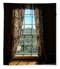 Period Window With Floral Curtains Fleece Blanket