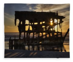 Peter Iredale Shipwreck Sunset Fleece Blanket