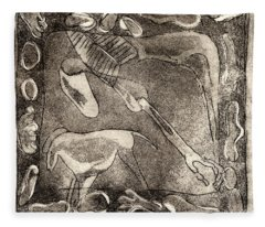 Petroglyph - Horse Takhi And Stones - Prehistoric Art - Cave Art - Rock Art - Cave Painters Fleece Blanket