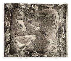 Petroglyph - Horse Takhi And Stones - Prehistoric Art - Cave Art - Rock Art - Cave Painters Fleece Blanket