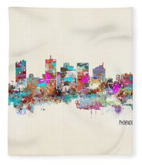 Phoenix Arizona Skyline Fleece Blanket