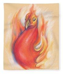 Phoenix In The Flames Fleece Blanket