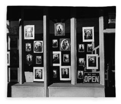 Photography Homage Antique Portraits Store Tombstone Arizona 1980 Black And White Fleece Blanket