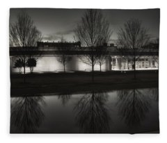 Piano Pavilion Bw Reflections Fleece Blanket
