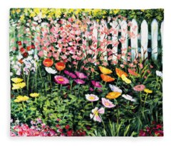 Pickets N' Poppies Fleece Blanket