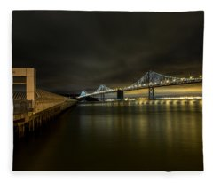 Pier 14 And Bay Bridge At Night Fleece Blanket