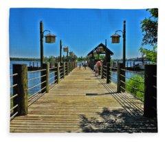 Pier At Fort Wilderness Fleece Blanket