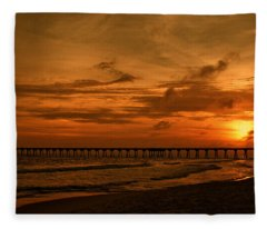 Pier At Sunset Fleece Blanket