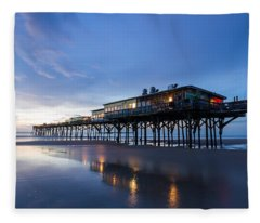 Pier At Twilight Fleece Blanket