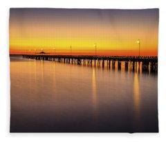 Pier Before Dawn Fleece Blanket