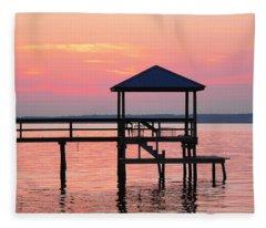 Pier In Pink Sunset Fleece Blanket