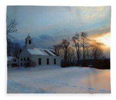 Piermont Church In Winter Light Fleece Blanket