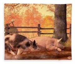 Pig Race Fleece Blanket
