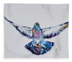 Pigeon In Flight Fleece Blanket