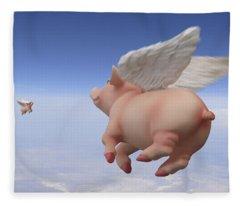 Pigs Fly 2 Fleece Blanket