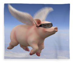 Pigs Fly Fleece Blanket