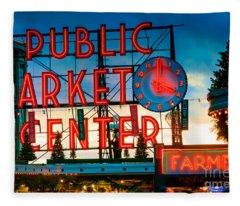 Pike Place Holidays Fleece Blanket