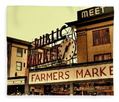 Pike Place Market - Seattle Washington Fleece Blanket
