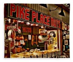 Pike Place Nuts - Seattle Washington Fleece Blanket