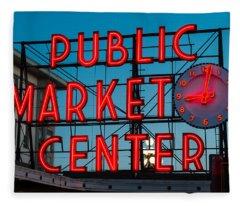 Pike Place Public Market Seattle Fleece Blanket