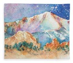 Pikes Peak Over The Garden Of The Gods Fleece Blanket