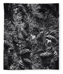 Pine Cones And Patterns - Monochrome Fleece Blanket