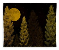 Pine Forest Moon Fleece Blanket