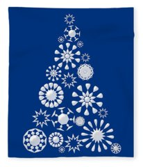 Pine Tree Snowflakes - Dark Blue Fleece Blanket