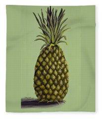Fleece Blanket featuring the painting Pineapple On Green by Darice Machel McGuire