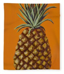 Pineapple On Orange Fleece Blanket