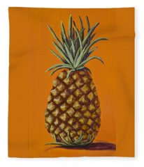 Pineapple On Orange Fleece Blanket