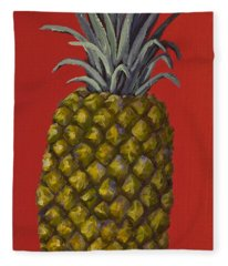 Fleece Blanket featuring the painting Pineapple On Red by Darice Machel McGuire