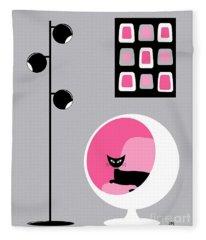 Pink 1 On Gray Fleece Blanket