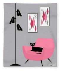 Pink 2 On Gray Fleece Blanket
