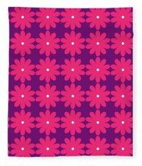 Pink And Purple Flowers Fleece Blanket