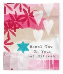 Pink And White Bat Mitzvah- Greeting Card Fleece Blanket