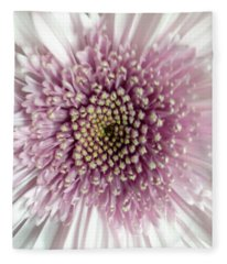 Pink And White Chrysanthemum Fleece Blanket