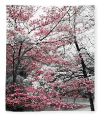 Pink And White Dogwood Trees Fleece Blanket