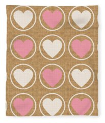 Pink And White Hearts Fleece Blanket
