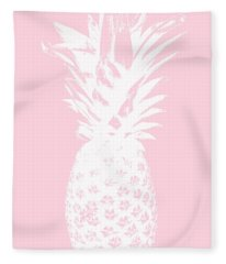 Pink And White Pineapple Fleece Blanket