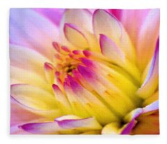 Pink And White Water Lily Fleece Blanket