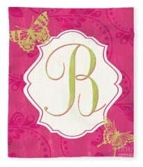 Pink Butterfly Monogram Fleece Blanket