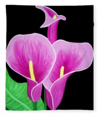 Pink Calla Lillies 2 Fleece Blanket