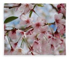 Pink Cherry Blossoms Fleece Blanket