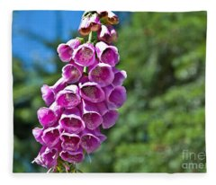 Pink Foxglove Flower Fleece Blanket