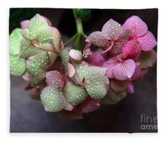 Pink Green And Rain Fleece Blanket
